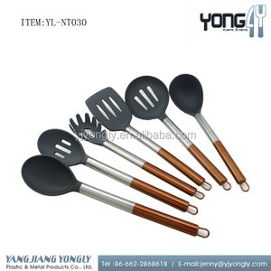 6pcs Nylon Salad Serving Spoon Slotted Spoon Noodle Fork with Deluxe Copper Handle Kitchen Utensils Set