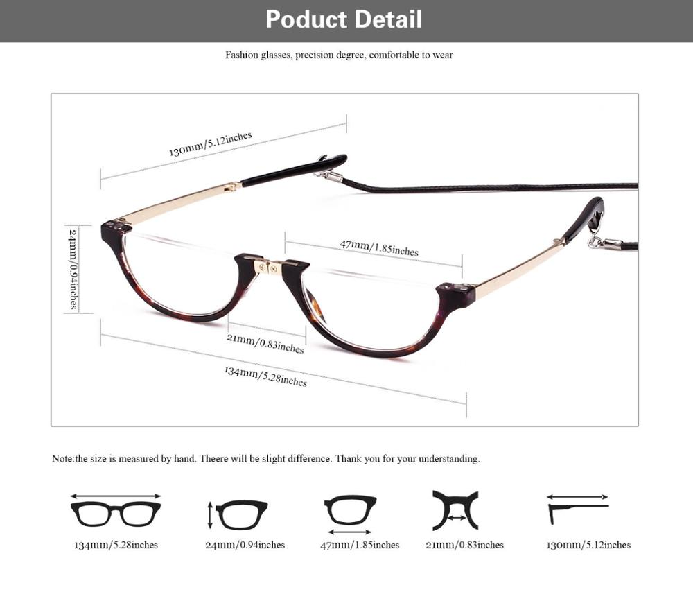 Half Moon Mens Women Wrap Neck Round Eyeglasses Reading Glasses Foldable Eyewear