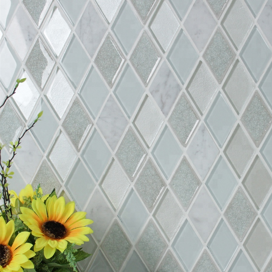 - Hot Sale Customized White Marble Glass Mosaic Rhombus Tile For