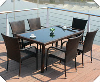 Outdoor rectangular table/armchair/tempered glass with hole for patio/garden umbrella