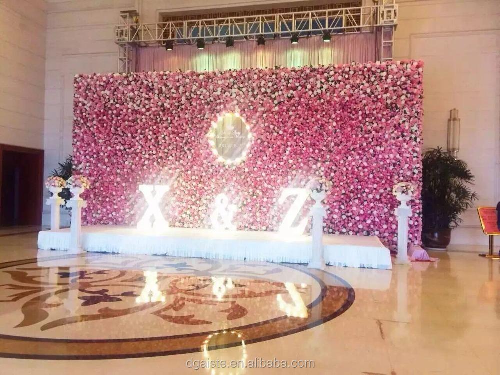 Romantique con u fleur mur d coration de mariage soie rose fleur fleurs - Decoration mur mariage ...