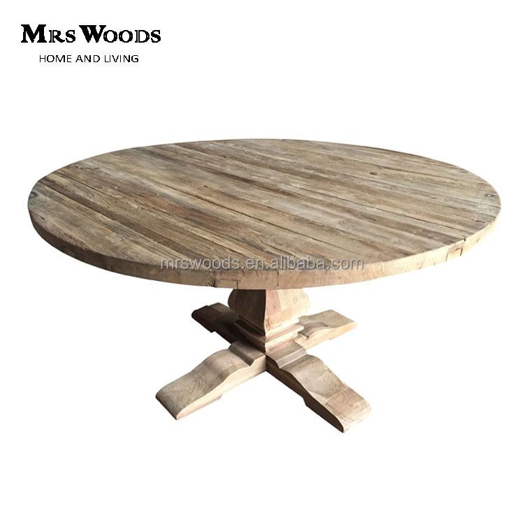 Farmhouse Reclaimed Elm Wood Round Trestle Pedestal Dining Table