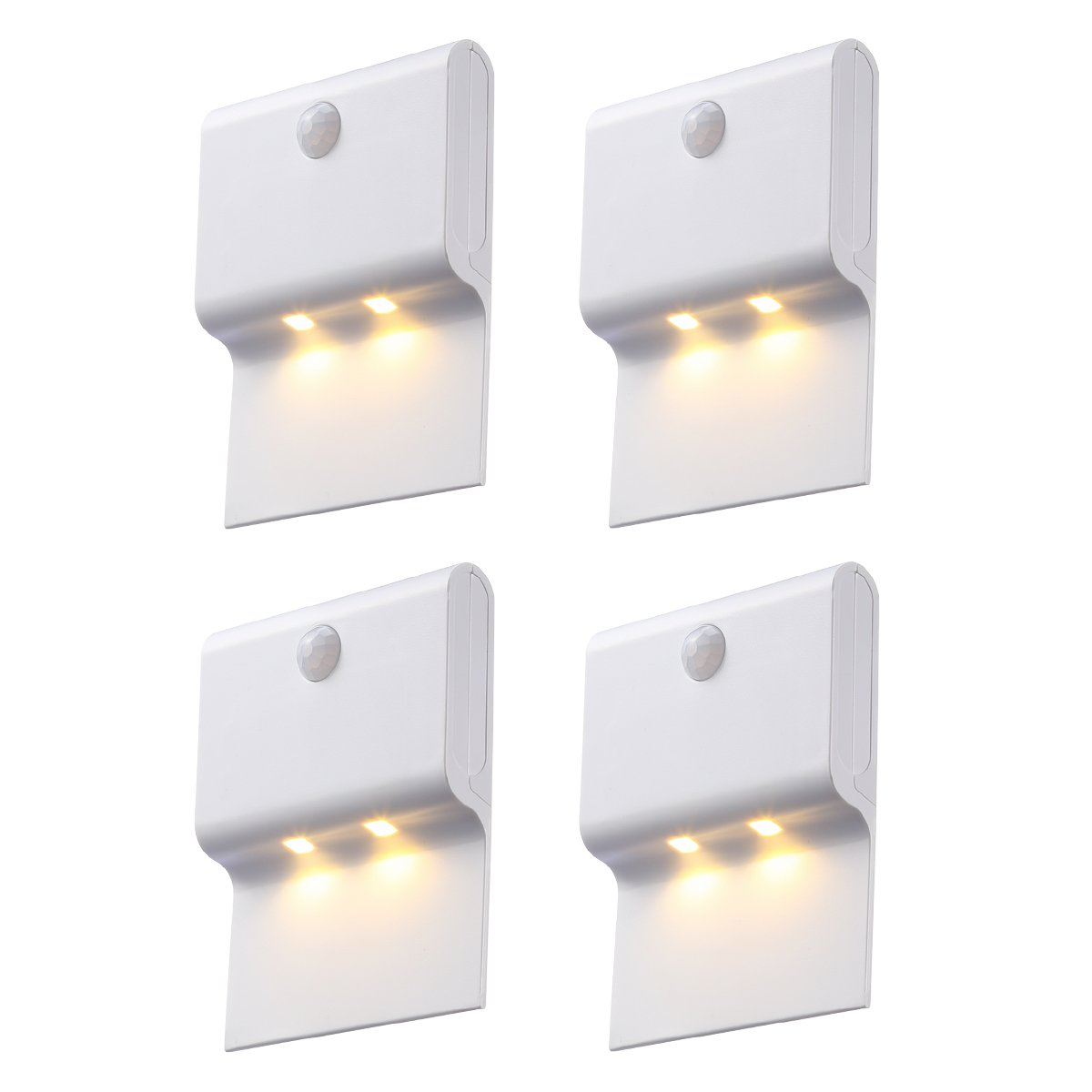 AMIR Motion Sensor Night Light, 2-LED Wireless Hanging Wall Night Lamp, Stick Anywhere, Auto On/Off PIR Detection for Hallway, Staircase, Corridor, Wall, Kitchen, Battery Powered (White – Pack of 4)