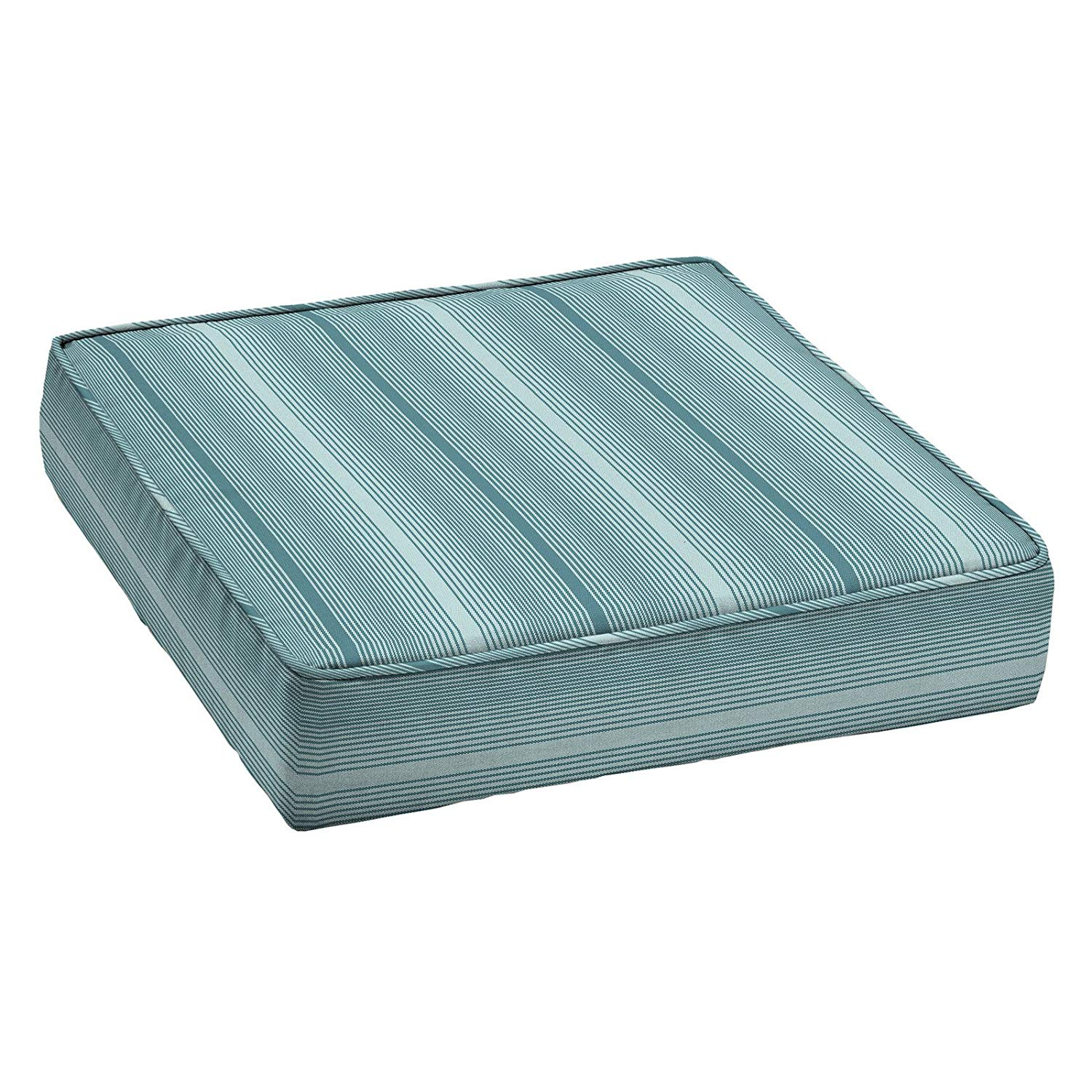 Home Improvements Teal Stripe Premium Acrylic 24 x 24 Outdoor Deep Seat Cushion Patio Deep Seating Chair Cushion