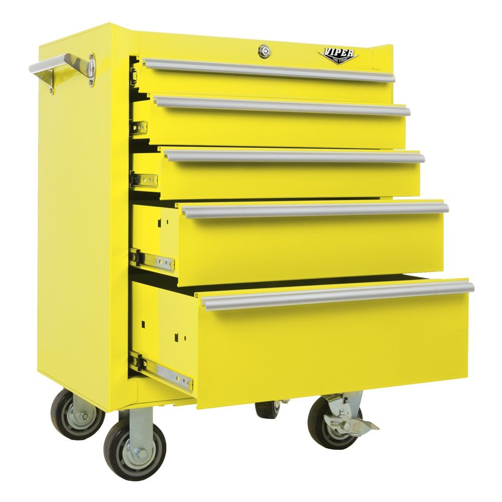 Viper Tool Storage V2605YWR 26-Inch 5-Drawer 18G Steel Rolling Tool Cabinet, Yellow