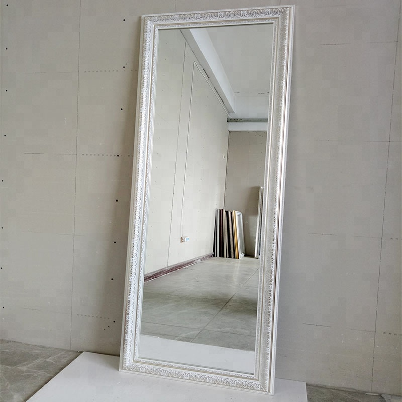 Custom livingroom full length floor standing ps framed silver mirror