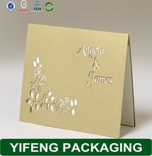 2015 hot sale Chinese traditional hollow deep red wedding invitation cards embossed English words mr and mrs
