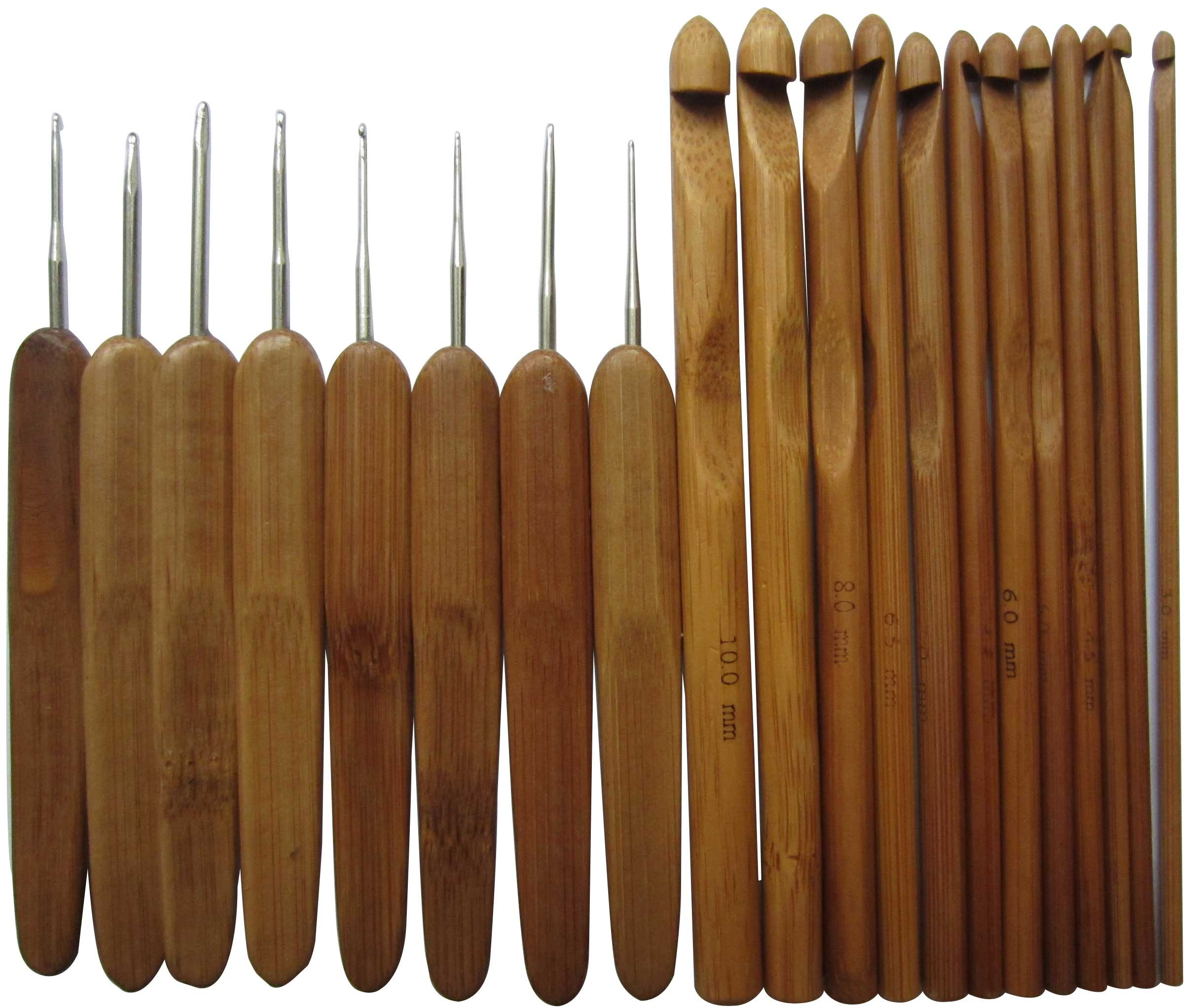 Bamboo Crochet Hooks Set - LeBeila Ergonomic Handle Knitting Needles, 20 Professional Carbonized Bamboo Knit Needle & Metal Crocheting Hook In Different Sizes With Compact Carry Case (20 PCS, Purple)