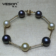 Luxury quality black gold china pearl stone jewelry bracelet