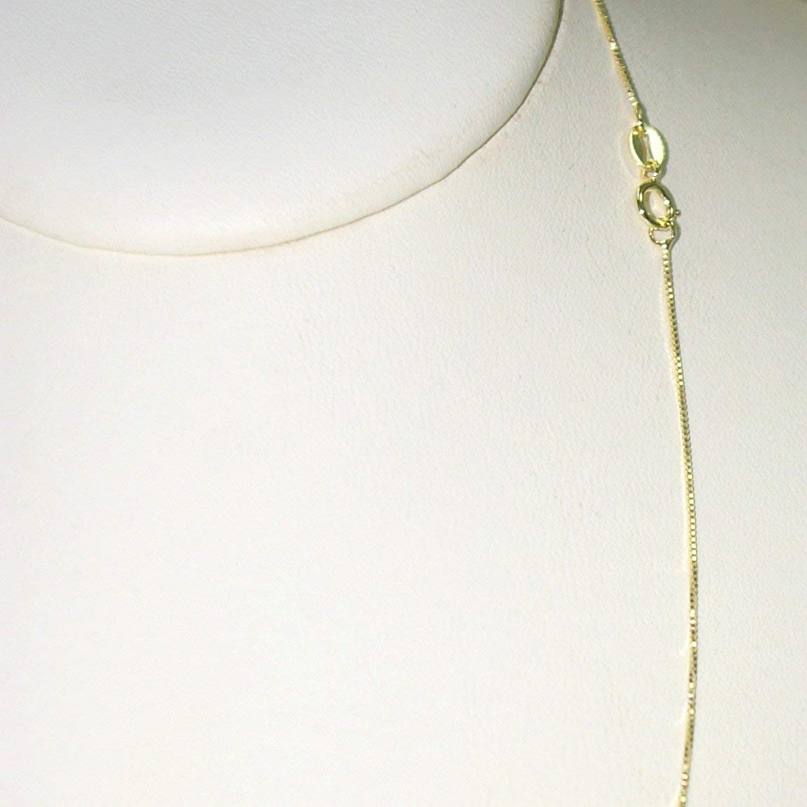 """Gold Plated 925 Sterling Silver Vermeil Fine 0.8mm BOX Chain Necklace 16.5"""" 18"""""""