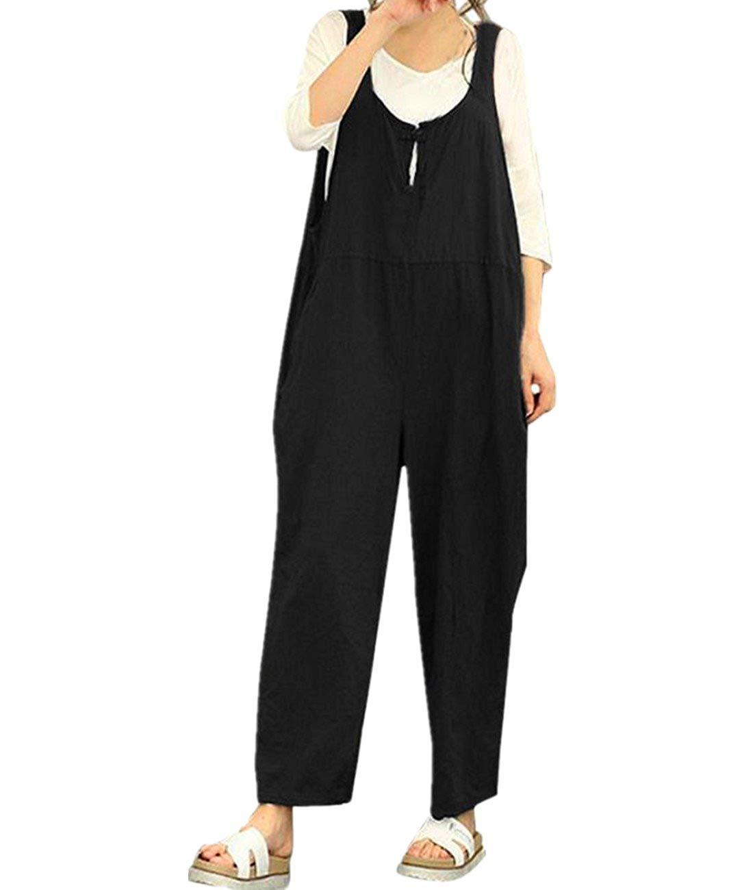 9d7cea04685 Get Quotations · Qisc Women Pants Womens Casual Sleeveless Dungarees Loose  Cotton Linen Bib Baggy Overalls Jumpsuit Pants Plus