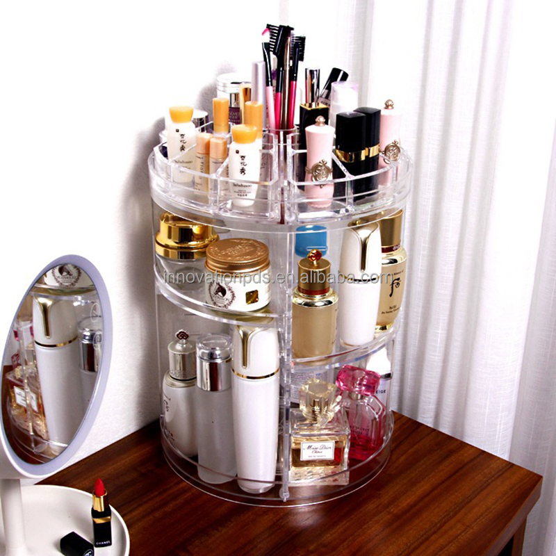 High Quality 360-Degree Rotating Cosmetic Multi-Function Acrylic Make up Organizer Storage Box