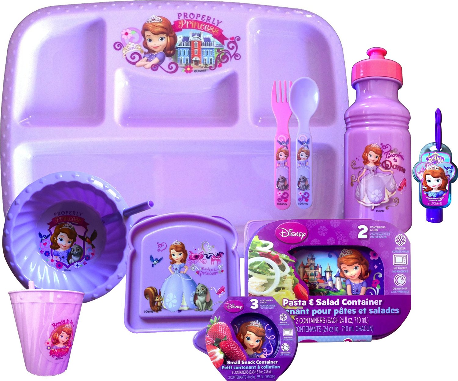Disneyland Disney Sofia the First Survival Kit Survive Disneyland Lunch Easy to Clean an Easy to Store , Disney Sofia the First Dinnerware Set Includes 4 Sectioned Dinner Tray,1 Lunch Bowl, 2 Pasta& Salad Container with Lids, 3 Small Snack Container with Lids , Sandwich Container , Fork, Spoon, 1