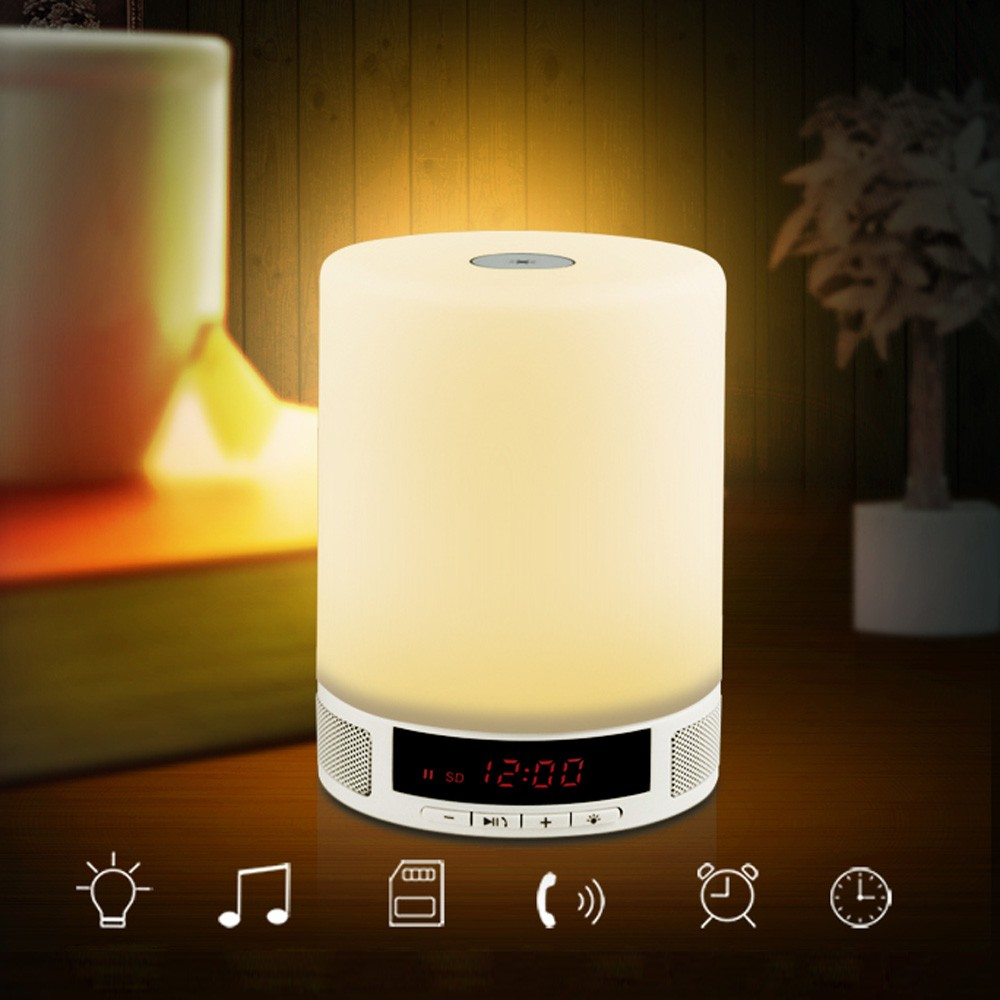 New Night Lights LED Bulb Indoor Wireless Bluetooth Speaker Lamp Hands-free With Music Light Alarm Clock
