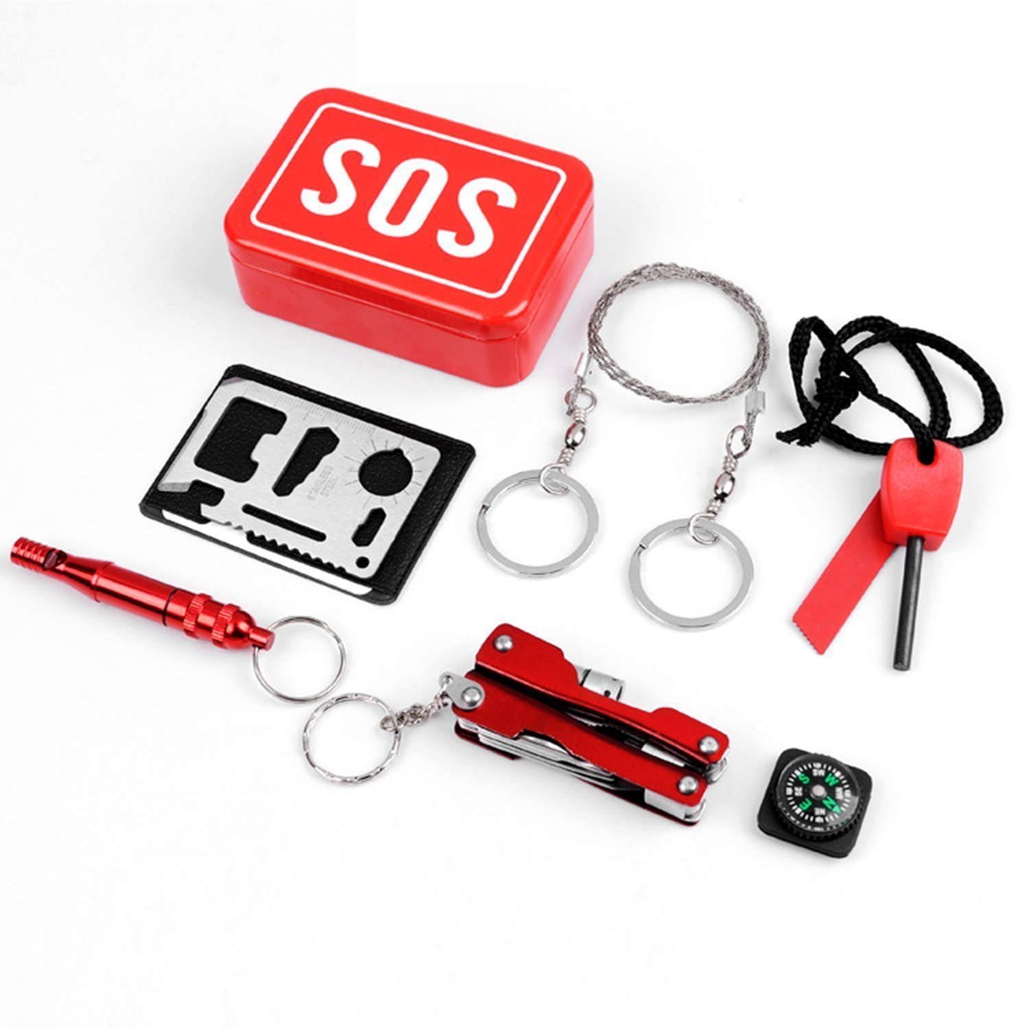 Emergency Kit/Survival Kit/First Aid Kits Tools Outdoor Emergency & Survival Kit Tool Gear Bundle Multitool Pliers with Flashlight Wire Saw/Fire Starter/Compass/Emergency Whistle/Pocket Tool