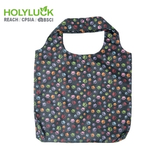 Pocket Ripstop Nylon Print Reusable Fancy Polyester Promotion Foldable Bag Shopping Bag