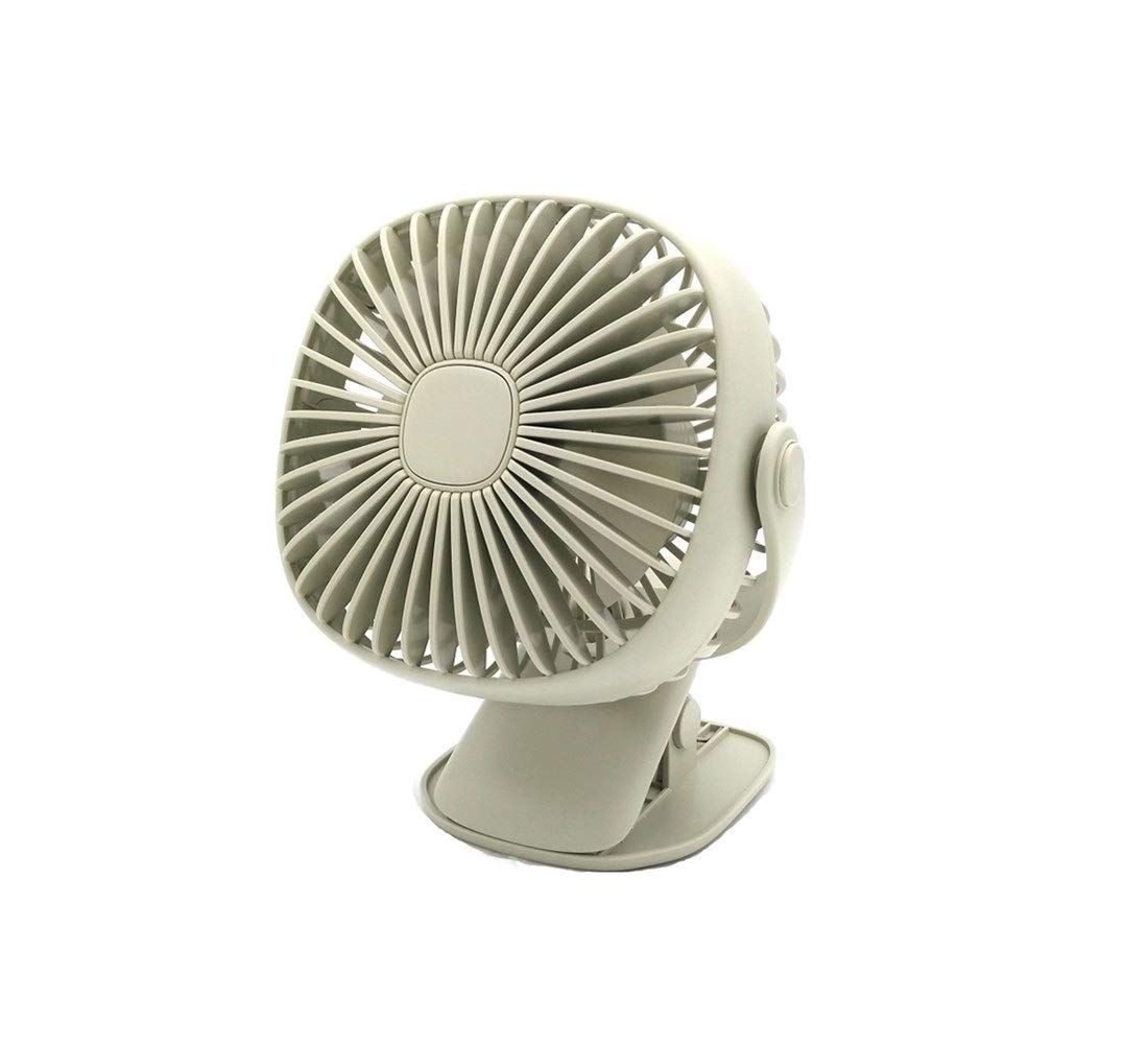 Battery Operated Clip Table Fan,Mini USB Rechargeable Desk Fans,3 Speeds 2 Settings Warm Night Lamp,360 Degrees Rotation Stroller Car Office Camping,Green