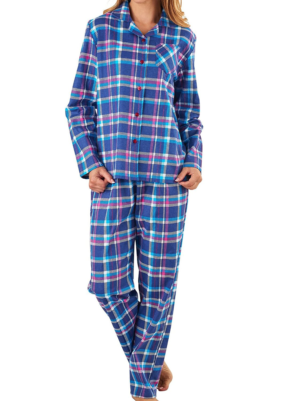 Get Quotations · Ladies Slenderella 100% Cotton Tartan Pyjamas Button Top    Bottoms Flannel PJs (Navy or ba36fa46f