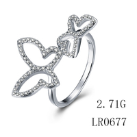 925 Sterl Silver Jewelry Cubic Sterling Boho Butterfly Ring For Woman