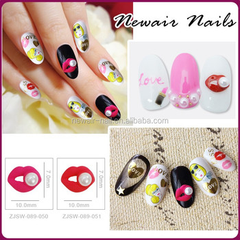 Nail Art Fashion Red Lips With Pearl Design Nail Decoration 3d Nail