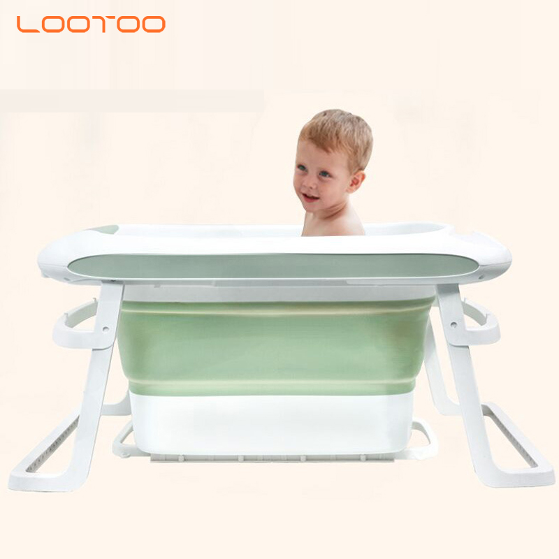 Chines manufacture cartoon design plastic adjustable deep kids bathtub folding bath tub baby