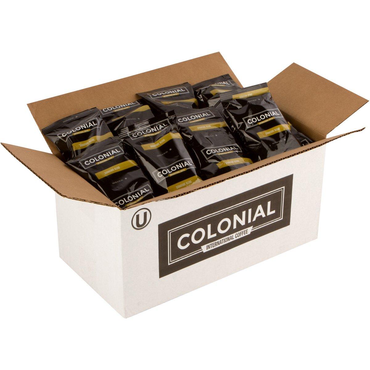 Colonial Coffee Portion Packs, Signature 'Breakfast' Blend, Medium Roast Ground, 2.5 oz./Bag, 32 Count box, Bulk Fractional Pouches for Single Pot Drip Brewing