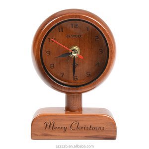 2018 promotional gift customized design desk clock wood