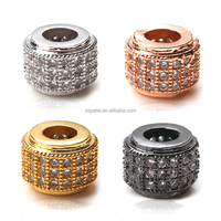 Cylinder Shape Beads Pave Zircon DIY Big Hole Metal Wheel Beads Spacer Bead Charms Fit For European Bracelet