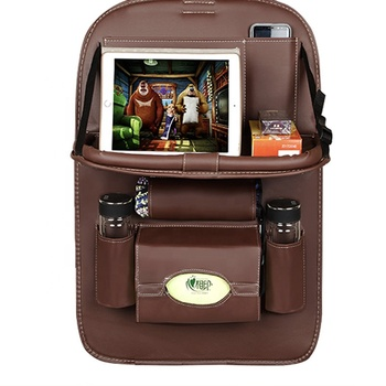 Cute Car Back Seat Pocket Auto Pu Leather Backseat Organizer With