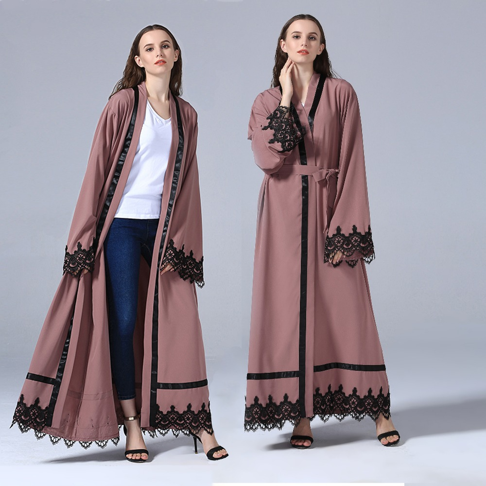 2018 turkish women clothes front open sudan dubai maxi kimono pink lace long cardigan islamic muslim casual abaya dress