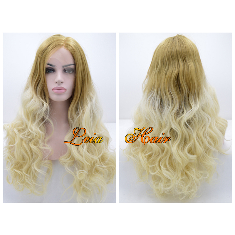 Wig Blonde Synthetic Ombre Lace Front Wig Heat Resistant New Wavy Kanekalon Hair Natural Looking Glueless Ombre Brown/Blonde Wig