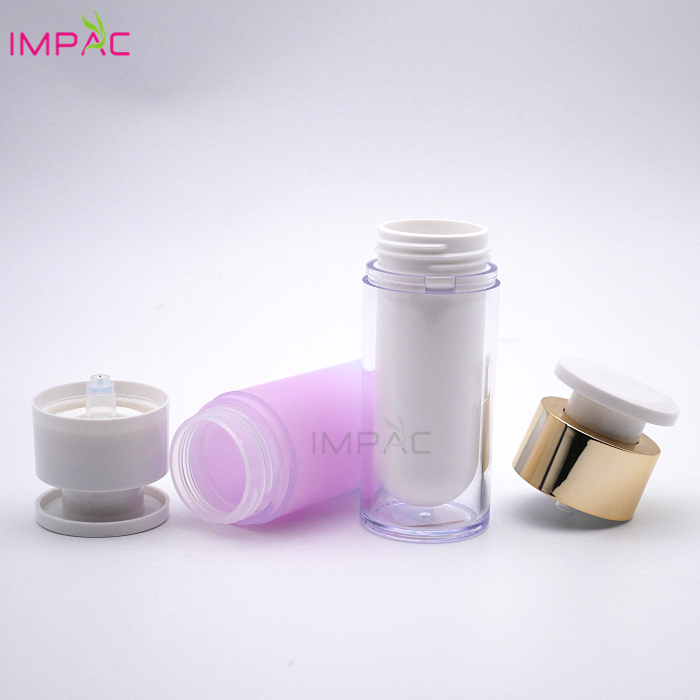 Gradienter round  luxury cosmetic airless toner pump acrylic airless 30ml bottle