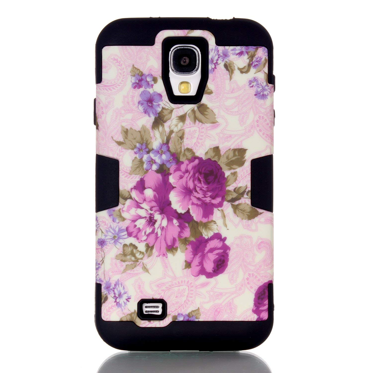 Galaxy S4 Case, S4 Case, Rosepark(TM) Purple Flowers Pattern Shock-Absorption / High Impact Resistant Bumper Hybrid Dual Layer Armor Defender Full Body Protective Case Cover (Hard Plastic with Soft Silicon) for Samsung Galaxy S4 / Galaxy i9500(Black), With Screen Protector, Stylus Pen and Cleaning