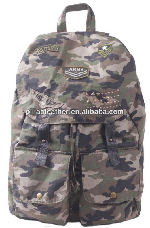 2014 spring season army camouflage bags canvas back pack
