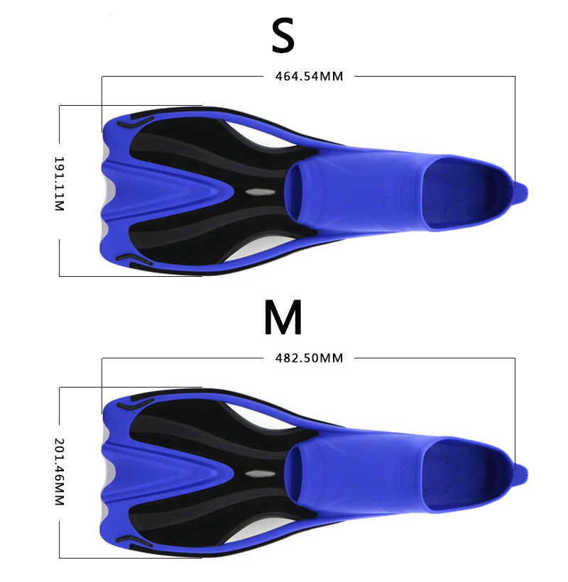 Adult Multicolor Lightweight TPR Black Rubber Swimming Snorkeling Diving Fins