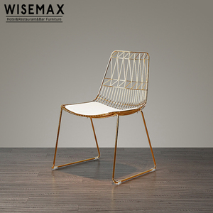 Luxury modern wholesale leisure chair replica bertoia wire gold metal lucy chair