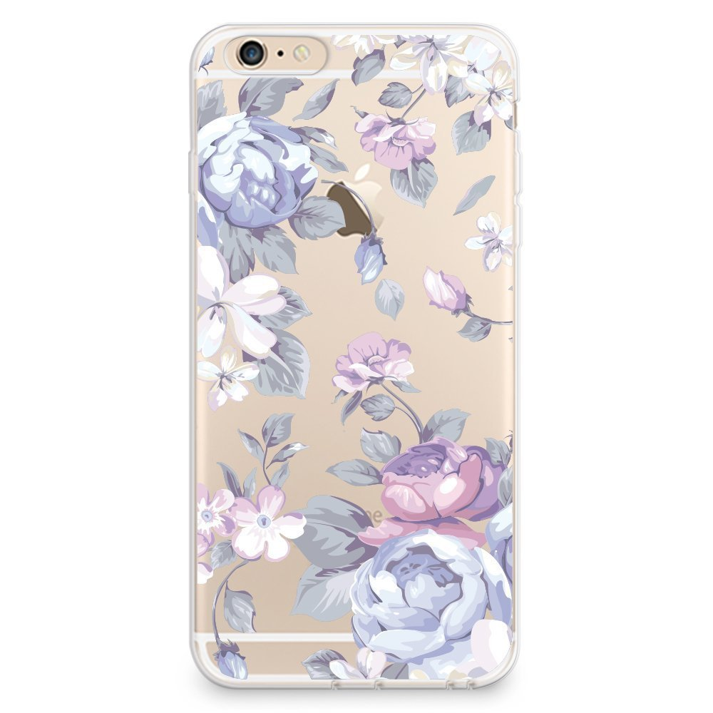Soft Rubber TPU Case for iPhone 6 / iPhone 6s, CasesByLorraine Purple Rose Floral Flower Pattern TPU Soft Rubber Clear Transparent Case for iPhone 6 / iPhone 6s 4.7 inch (I33)