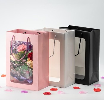 big size fashion clear window flower paper bag,with pvc transparent window