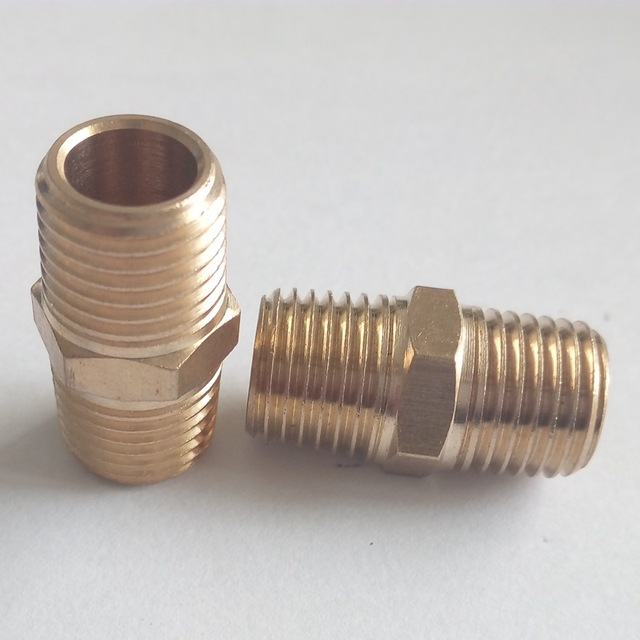 "Brass pipe fitting hex nipple 1/4""Male NPT* 1/4""Male NPT For Fuel air water"