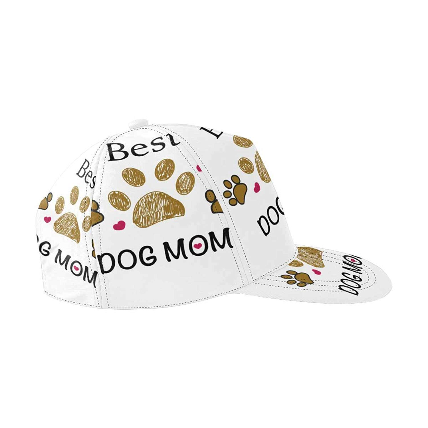 9880ad5065077 Get Quotations · InterestPrint Brown Paw Print with Hearts Snapback Hats  for Men Hip Hop Hats Flat Brim Hats
