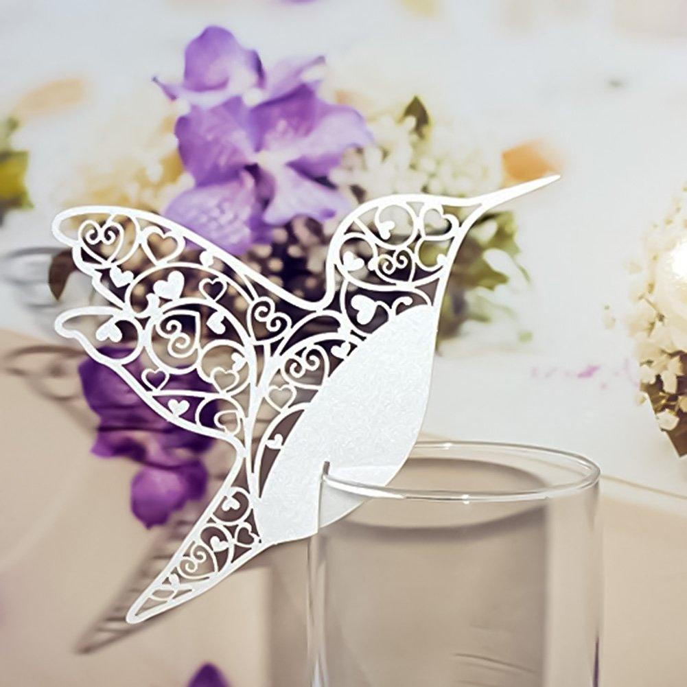 Buy 50pcs Hollow Hummingbird Wedding Table Name Place Cards Wine ...