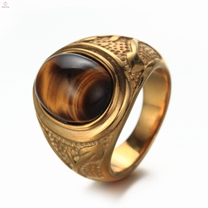 2019 New Arrival Gold Tiger Eye Stone Ring, Vintage Stainless Steel Men Tiger Eye Ring