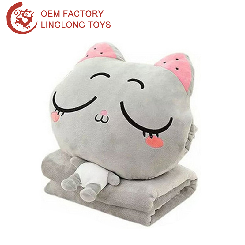 Grey Cat Travel Pillow Blanket Sleeping Kitten 3 In 1 Pillow Blanket For Kids Plush Cat Shape Cushion Blankets For Hand Warmer