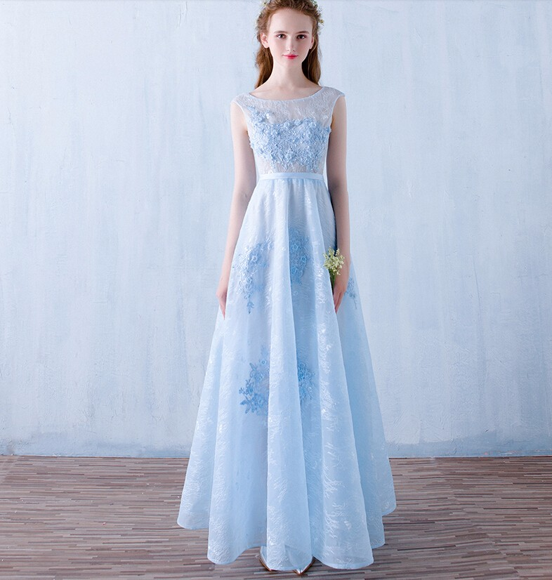 Sweetheat Long elegant prom dresses Lovely Slightly pale blue prom dresses 2016 Sexy See Through Lace louisvuigon