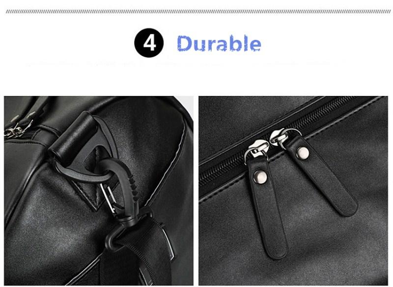 custom waterproof men black sport unique pu leather gym duffle bag with wet compartment travel bag