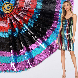 Latest design elegant poly stripe colorful sequins embroidered tulle fabric