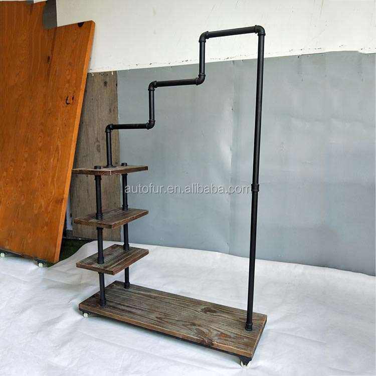 Antique style pipe wooden shelf clothes display drying rack