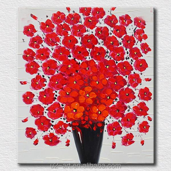 lien toile peinture l 39 huile facile fleur rouge art. Black Bedroom Furniture Sets. Home Design Ideas