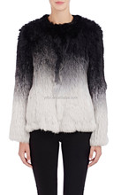 YRFUR Factory YR162A Ladies rabbit fur jacket/ Dip Dyed Real rabbit fur Garment