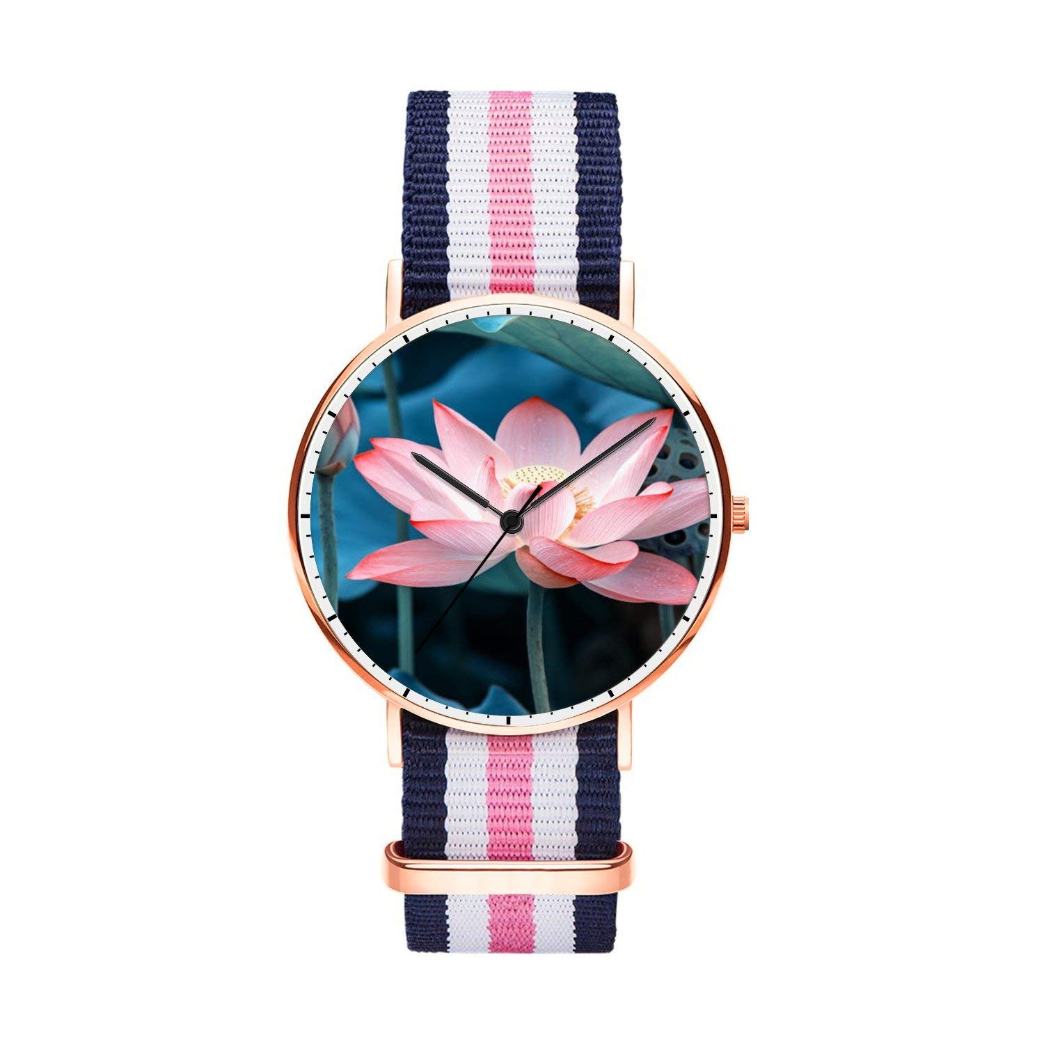 FELOOWSE Youth Men's Watches, Boys Watch Unique Rose Gold Imported Japanese Quartz Unisex Wrist Watch, PracticalWaterproof and Youth Fashion Personalized Design for Man,Boyfriend and Family.- Lotus